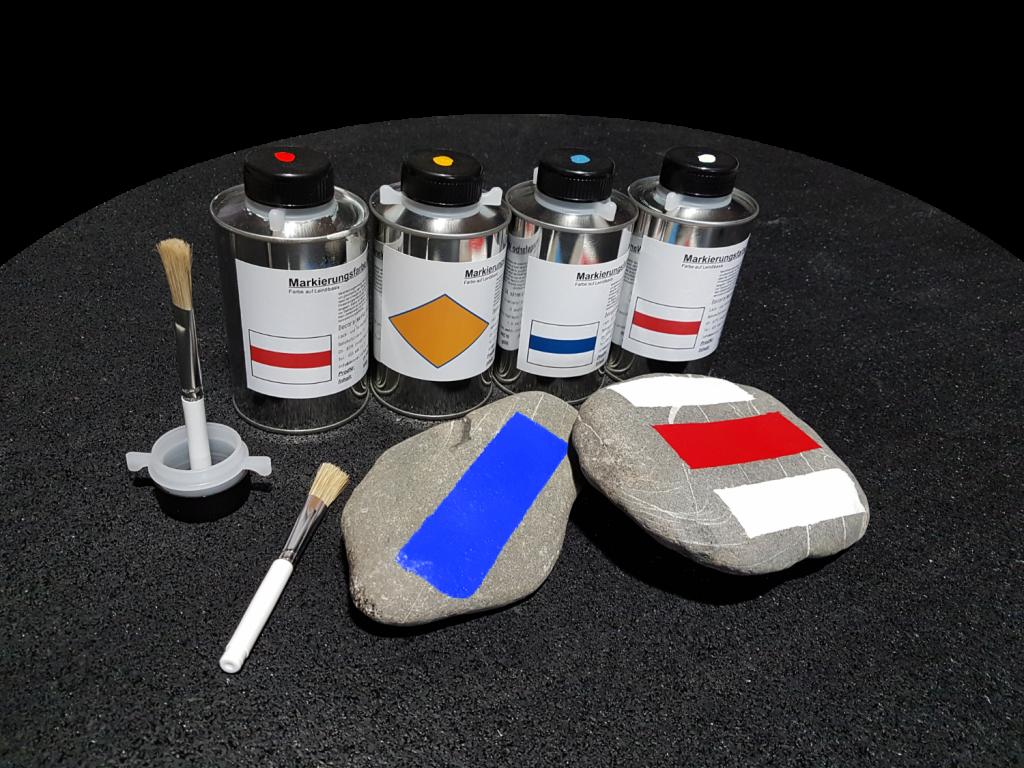 Wanderwegmarkierungsfarbe auf Leinöl/Kunstharzbasis